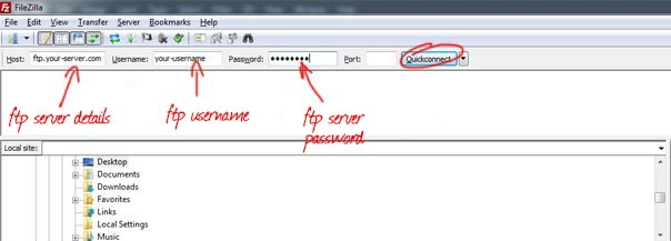 FileZilla FTP Server Details